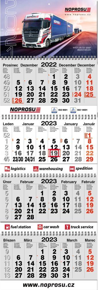Čtyřměsíční skládaný TWIN kalendář typ 4M-S, šedá-bílá-šedá, mezinárodní kalendárium