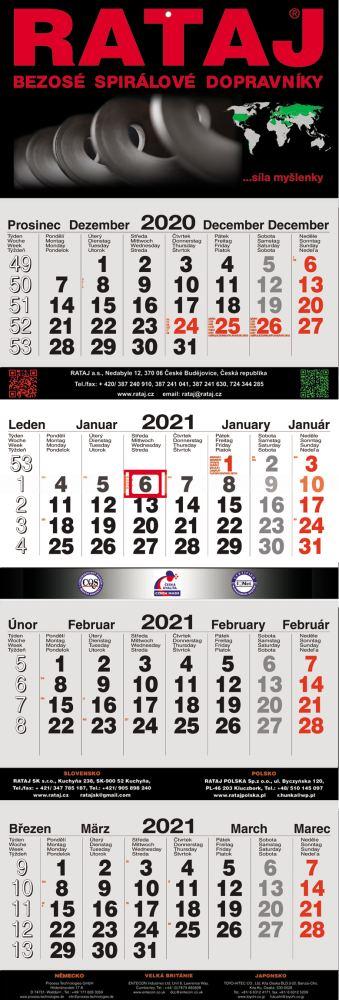 Čtyřměsíční kalendář nástěnný skládaný
