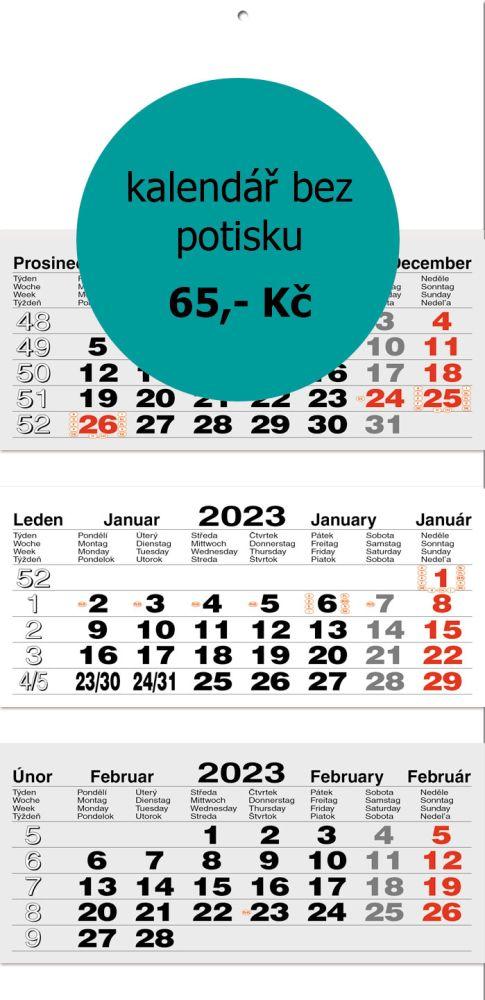 Tříměsíční skládaný kalendář typ L20, šedá-bílá-šedá, mezinárodní kalendárium, lepená vazba