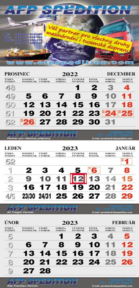 Tříměsíční kalendář skládaný, typ L25, šedá-bílá-šedá, česko-slovenské kalendárium, lepená vazba