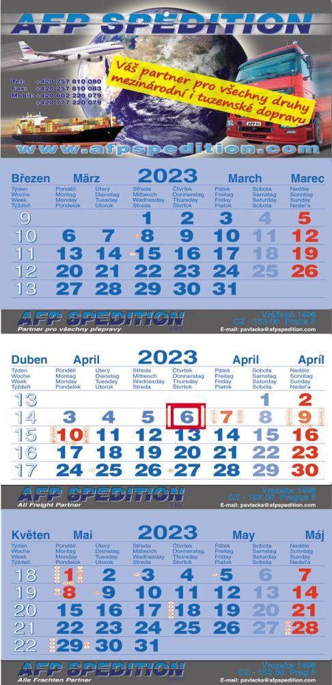 Tříměsíční kalendář skládaný, typ L35, tmavě modrá - bílá - tmavě modrá, mezinárodní kalendárium, lepená vazba