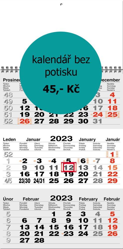 Tříměsíční kalendář typ M20, šedá-bílá-šedá, mezinárodní kalendárium