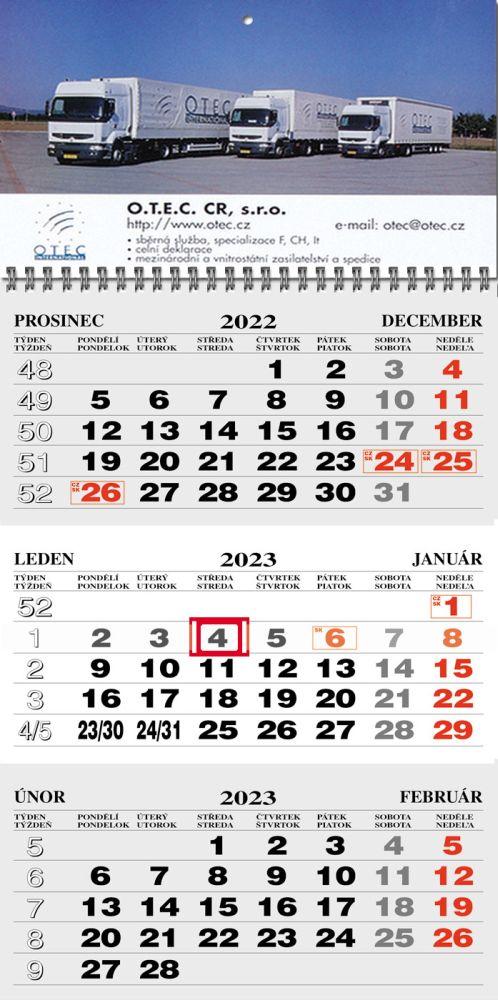 Tříměsíční kalendář typ M25, šedá-bílá-šedá, česko-slovenské kalendárium