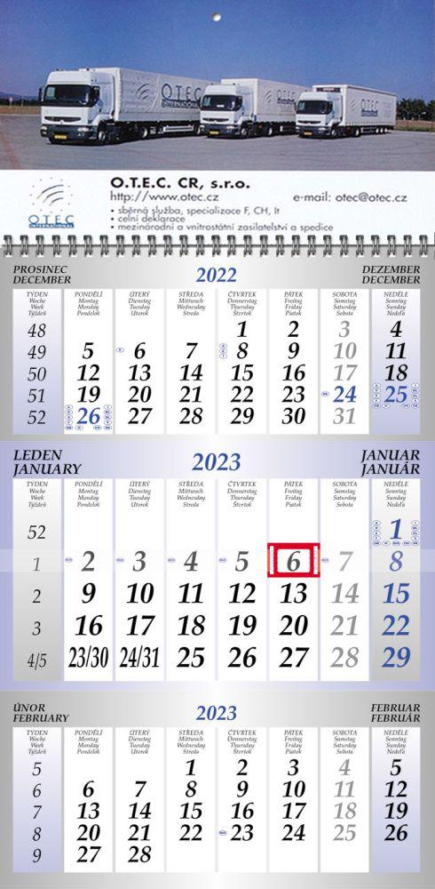 Tříměsíční luxusní kalendář modrý typ M40, křídový papír