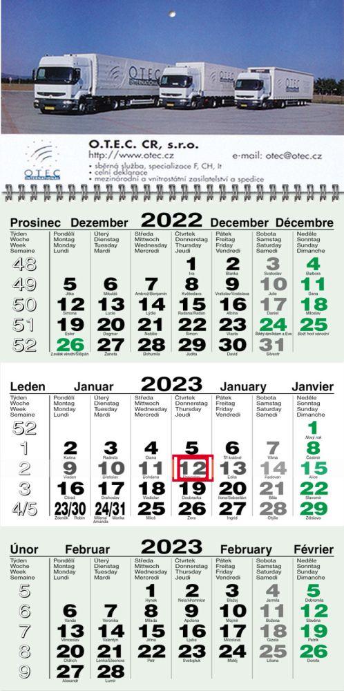 Tříměsíční kalendář typ M55, zelený, jmenné kalendárium