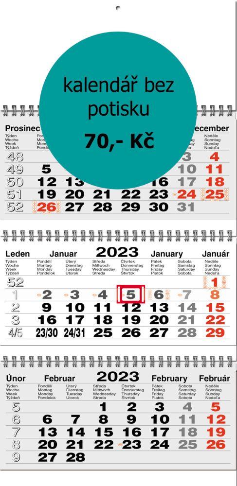Tříměsíční kalendář skládaný typ S20, šedá-bílá-šedá, mezinárodní kalendárium, vazba twin-wire