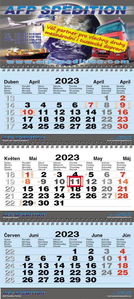 Tříměsíční kalendář skládaný typ S30, modrá-bílá-modrá, mezinárodní kalendárium, vazba twin-wire