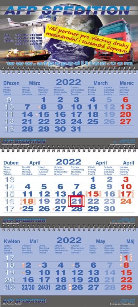 Tříměsíční kalendář skládaný typ S35, tmavě modrá - bílá - tmavě modrá, mezinárodní kalendárium, vazba twin-wire