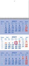 TYP M 35: Tříměsíční kalendář tmavě modrá - bílá - tmavě modrá, kalendárium mezinárodní