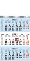 TYP M 30: Tříměsíční kalendář modrá-bílá-modrá, mezinárodní kalendárium