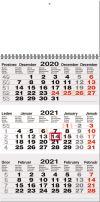 TYP M 20: Tříměsíční kalendář šedá-bílá-šedá, mezinárodní kalendárium