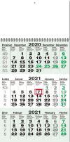 TYP M 55: Tříměsíční kalendář zelený, jmenné kalendárium