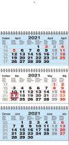 TYP S 30: Tříměsíční kalendář modrá-bílá-modrá, mezinárodní kalendárium, vazba twin-wire