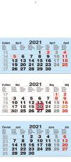 TYP L 30: Tříměsíční kalendář modrá-bílá-modrá, mezinárodní kalendárium, lepená vazba
