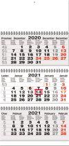TYP S 20: Tříměsíční kalendář šedá-bílá-šedá, mezinárodní kalendárium, twin-wire