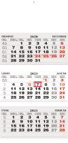 TYP L 25: Tříměsíční kalendář šedá-bílá-šedá, česko-slovenské kalendárium, lepená vazba