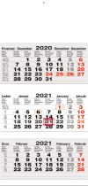 TYP L 20: Tříměsíční kalendář šedá-bílá-šedá, mezinárodní kalendárium, lepená vazba