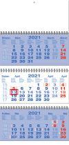 TYP S 35: Tříměsíční kalendář tmavě modrá - bílá - tmavě modrá, mezinárodní kalendárium, vazba twin-wire