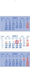 ACAN - nástěnný tříměsíční kalendář 2019 (skladaný tříměsíční kalendář, kalendárium tříměsíčního kalendáře tmavě modré)
