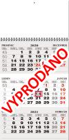 TYP M 25: Tříměsíční kalendář šedá-bílá-šedá, česko-slovenské kalendárium