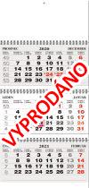 TYP S 25: Tříměsíční kalendář šedá-bílá-šedá, česko-slovenské kalendárium, vazba twin-wire