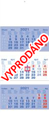 TYP L 35: Tříměsíční kalendář tmavě modrá - bílá - tmavě modrá, mezinárodní kalendárium, lepená vazba