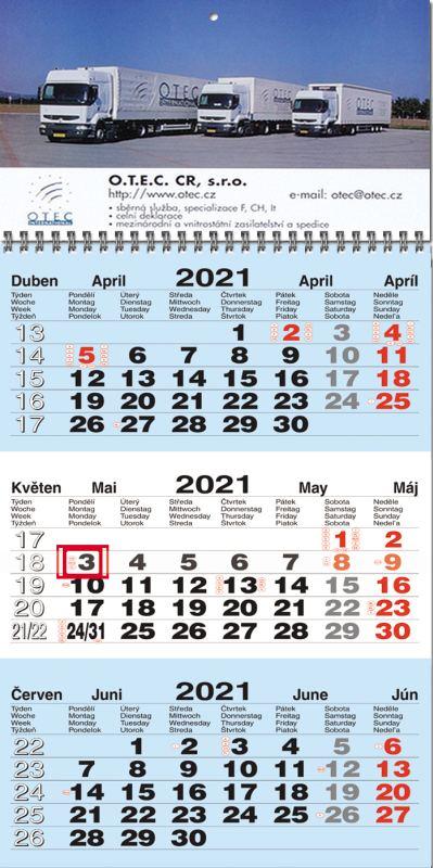 Tříměsíční kalendář nástěnný M-B-M