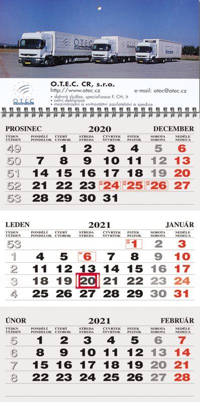 """Tříměsíční kalendář CZ/SK šedá-bílá-šedá """"30"""""""