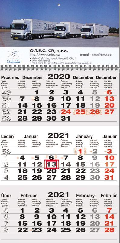 """Tříměsíční kalendář mezinárodní šedá-bílá-šedá """"30"""""""