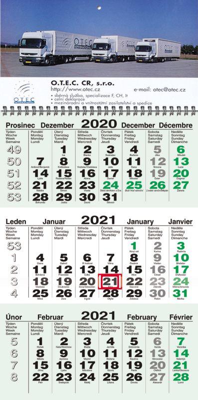 Tříměsíční kalendář nástěnný (kalendárium zelené, jmenné)