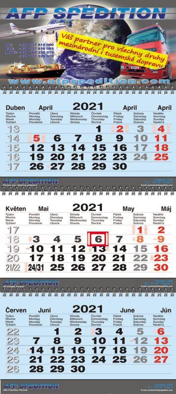 Tříměsíční kalendář nástěnný skládaný twin-wire (kalendárium M-B-M)