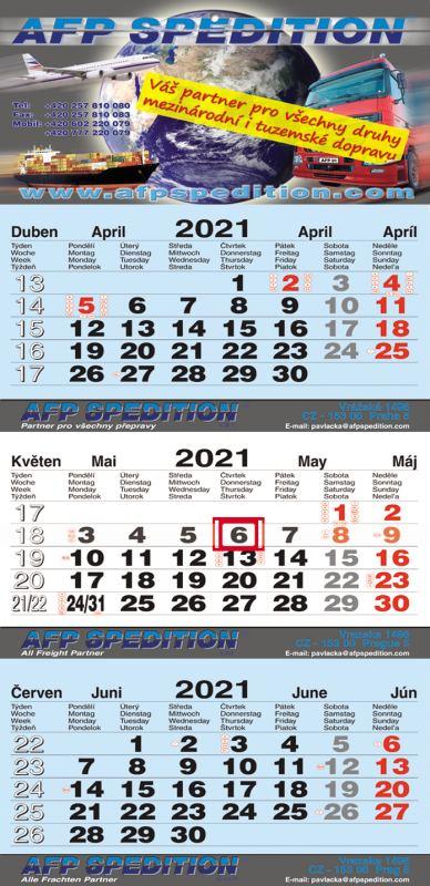 Tříměsíční kalendář nástěnný skládaný (kalendárium M-B-M)