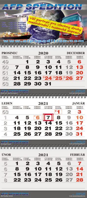 Tříměsíční kalendář nástěnný skládaný twin-wire (kalendárium Š-B-Š CZ/SK)