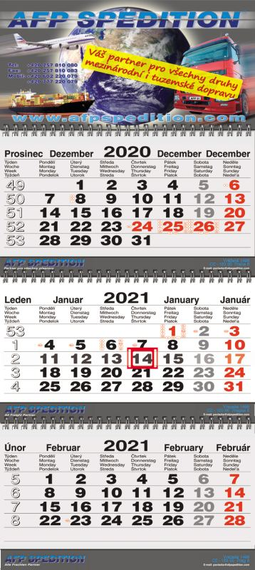 Tříměsíční kalendář nástěnný skládaný twin-wire (kalendárium Š-B-Š)