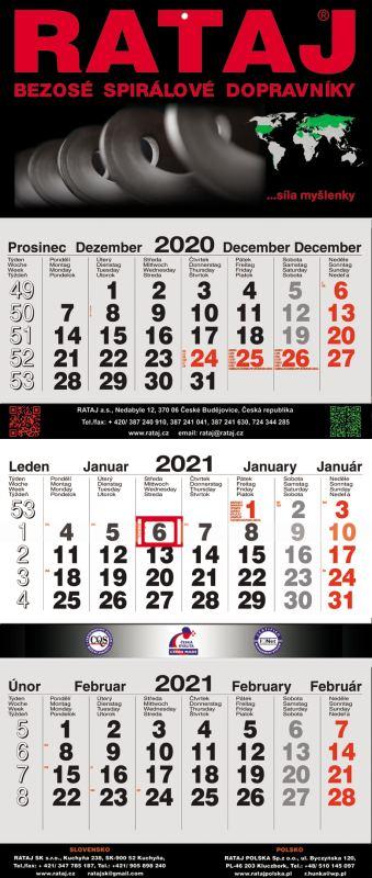 """Tříměsíční kalendář nástěnný skládaný """"33"""""""